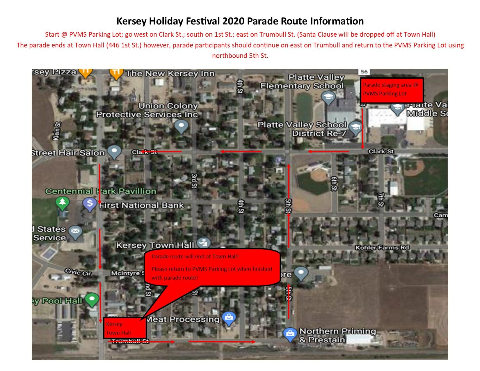 Kersey Holiday Festival 2020 Parade Route Information